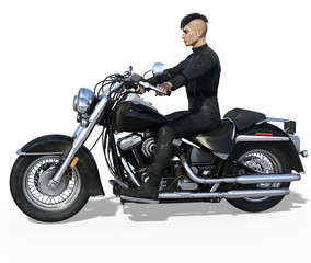 Handsome biker in black leather outfit isolated on white. 3d render
