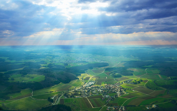 Aerial view of South Germany with beautiful rays of light on the Swabian Alps, near Stuttgart