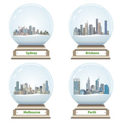 vector collection of snow globes with australian city skylines