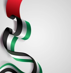 UAE Independence Day abstract background in national flag color theme. Celebration banner  with curving flag isolated on white. Vector illustration
