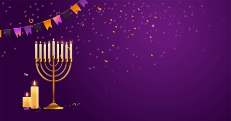 Hanukkah, the Jewish Festival of Lights, festive background with menorah, candles and bunting flags. Vector illustration