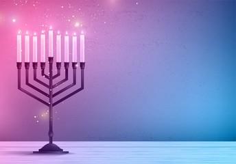 Hanukkah, the Jewish Festival of Lights, festive background with menorah and golden lights. Vector illustration