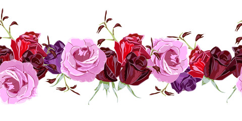 Seamless Floral Border With Cute Pink Flowers And Beautiful Roses
