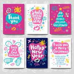 Merry Christmas Happy New set sketch style. Christmas lettering greeting cards. Multicolor doodles trendy firecracker fireworks. Hand drawn vector illustration.