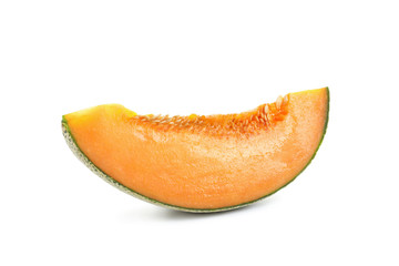 Slice of ripe melon on white background