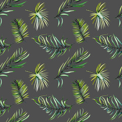 Watercolor green tropical palm leaves and fern branches seamless pattern, hand painted isolated on a dark background