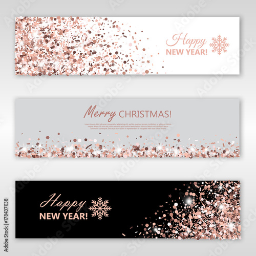 happy new year and merry christmas rose gold glowing banners set vector illustration all