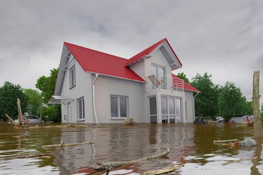 3d render of a flooding white house - force of nature