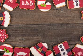 Christmas cookies on rustic wood background, tStudio shoot top view. Сoncept of home comfort
