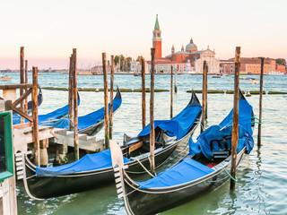 Keuken foto achterwand Gondolas Gondolas moored in the Venetian lagoon