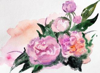 peonies. watercolor card