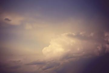 Dark sky with a big cloud, evening cloudscape