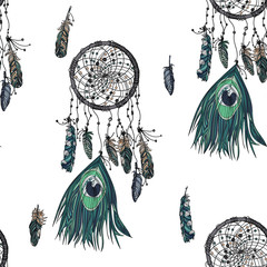 Hand drawn ethnic dreamcatcher seamless pattern.