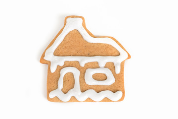 Christmas cookie with decoration / Decorated cookie with house shape isolated on white