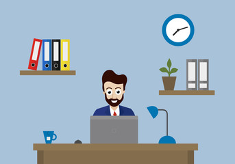 Vector illustration of office with clock, folders and flower on shelf and manager sitting at desk