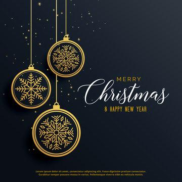 beautiful luxury christmas background with hanging balls