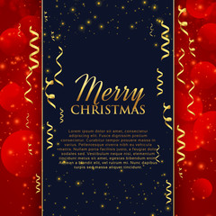merry christmas celebration greeting with golden confetti and glitter background