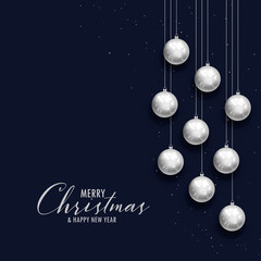 merry christmas dark greeting with silver xms balls