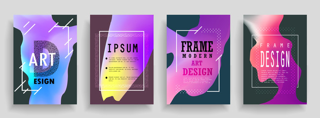 Fluid poster covers set with modern hipster and memphis colors