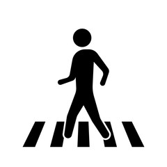 Pedestrian crossing sign isolated on white background. Vector illustration.