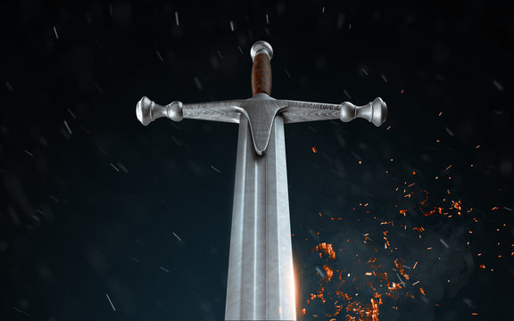 Metal sword on a dark background with snow. 3d render