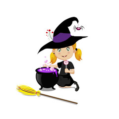Cute  little witch in halloween costume with boiling cauldron and broom