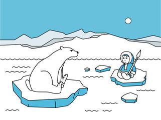 Cartoon polar animals and people. Cartoon character Eskimo, polar bear and penguin vector illustration