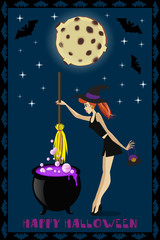 Happy Halloween illustration of cute young witch with cauldron on full moon background with stars and bats. Halloween greeting card or invitation.