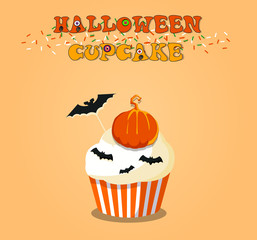 Cute happy halloween cupcake with pumpkin and bats on orange background. Vector illustration, clip art.