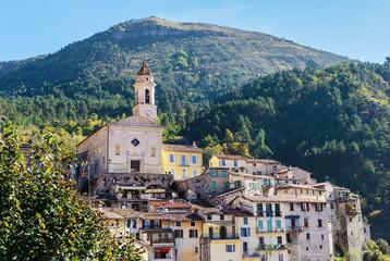 Mountain old village Luseram, Provence Alpes Cote d'Azur, France.