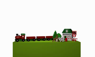 Holzspielzeug für eine Eisenbahn mit Text Bahnhof in deutsch auf einem grünen Podest