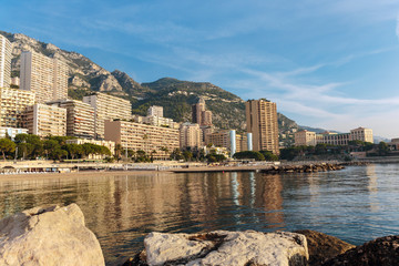 Panoramic view of the beach in Monte Carlo, Monaco. Principality of Monaco is a sovereign city state, located on the French Riviera