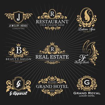 Vintage Royal Heraldic Monogram and Frame Logo Decorative Design