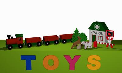 Holzspielzeug für eine Eisenbahn auf einem grünen Tisch und dem Text Toys