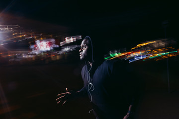 Creative stock image of a night runner. runner training at night