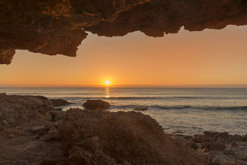 Garden Poster Cathedral Cove The coast of Oropesa del Mar at a sunrise