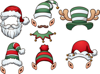 Cartoon Christmas hats. Vector clip art illustration with simple gradients. Each on a separate layer.