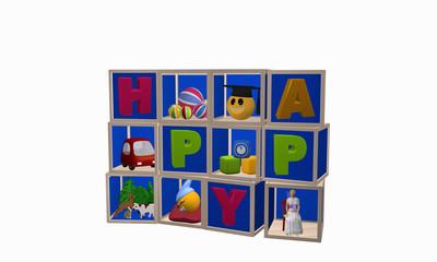 Setzkasten aus Würfeln mit Spielzeugen und dem Wort Happy. Ansicht von vorne.