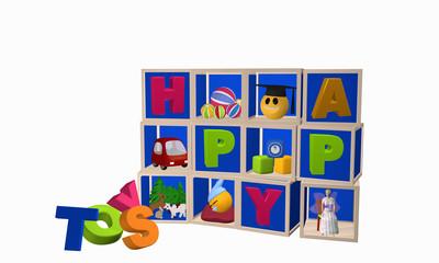 Setzkasten mit Spielzeugen und Toys als Buchstabenhaufen