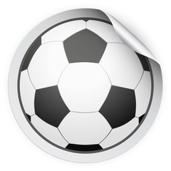 Round Sticker with football ball. Paper label with shadow. Vector illustration isolated on white background.