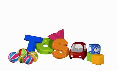 Toys als Buchstabenhaufen mit Spielzeugauto, Würfeln und Bällen