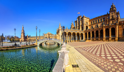 Plaza Espana on sunny day. Seville (Sevilla), Andalusia, Southern Spain. Wall mural