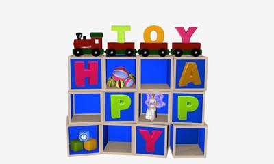 Setzkasten für Kinder mit Spielzeug befüllt.