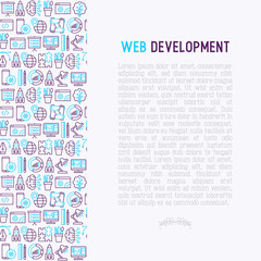 Web development concept with thin line icons of programming, graphic design, mobile app, strategy, artificial intelligence, optimization, analytics. Vector illustration for web page.