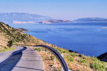 Road and Sea View of Krk Island, Croatia