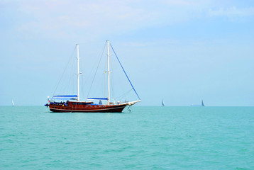 landscape of the sea with a yacht