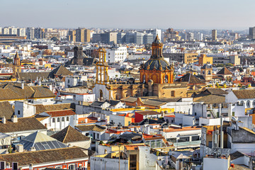 View of Seville from the Giralda Cathedral tower. Seville (Sevilla), Andalusia, Southern Spain.
