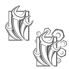 illustration consisting of two images of spanners and nuts in the form of a symbol