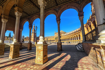 Plaza Espana on sunny day. Seville (Sevilla), Andalusia, Southern Spain.