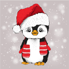 Penguin in Santa Claus hat and with the gloves. Vector illustration
